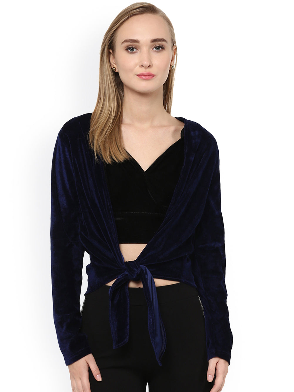 Besiva Navy Blue Velvet Tie-Up Shrug