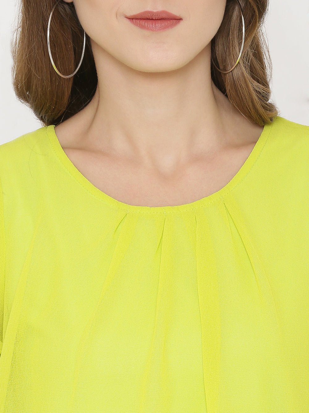 eyelet Women Lime Green Printed Blouson Top