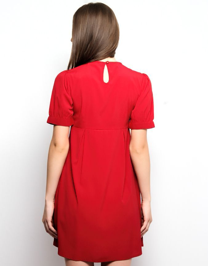 Collar Tip Dress Deep Red