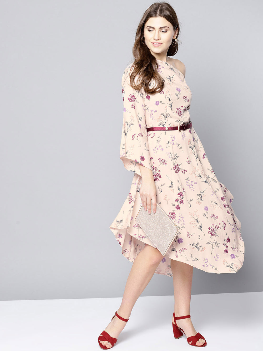 Besiva Women Peach-Coloured Printed A-Line Dress