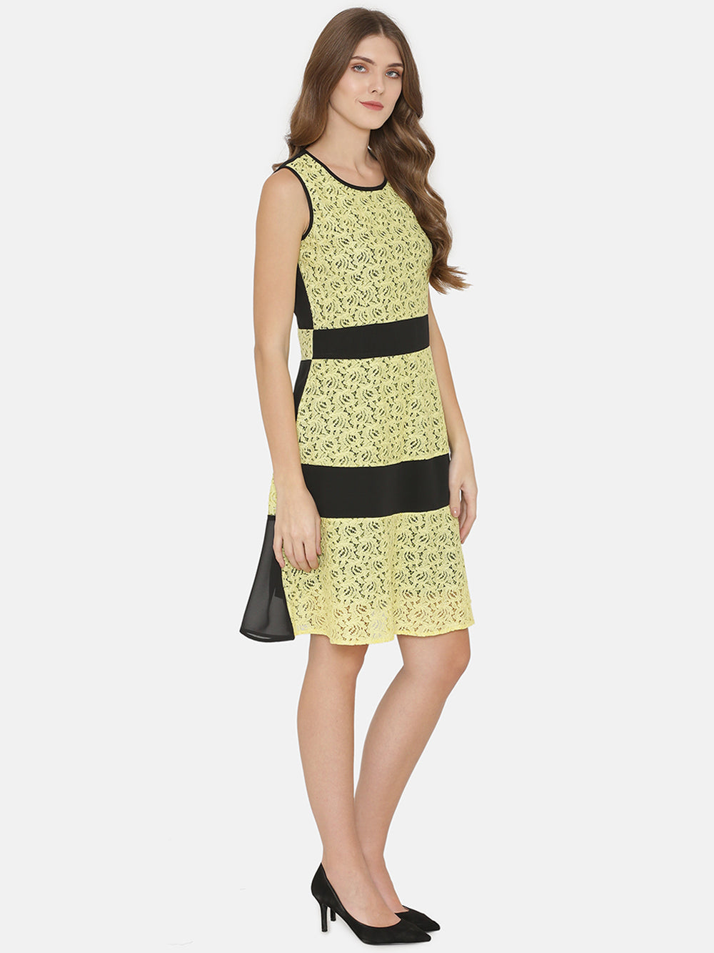 eyelet Women Yellow Printed Fit and Flare Dress
