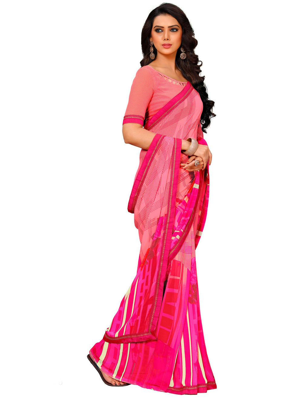 Roop Kashish Women Pink Party Wear Georgette Printed Saree With Border And Georgette Blouse Material._RKAM7018