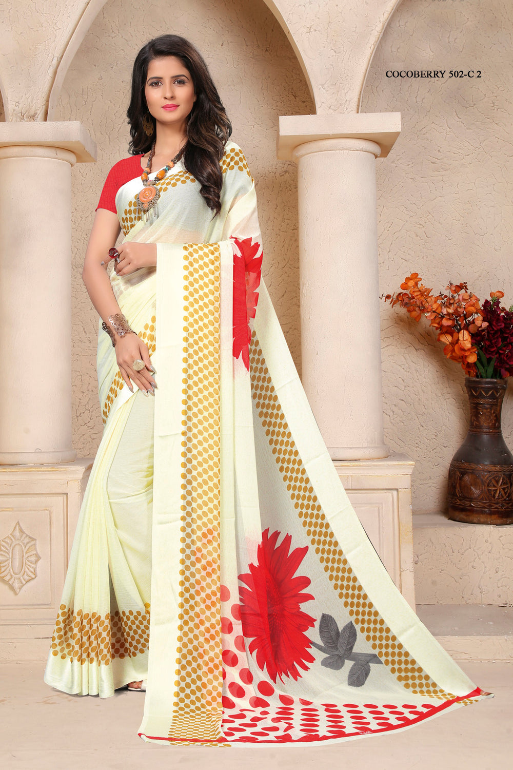 Roop Kashish Women White Party Wear Floral Printed Chiffon Saree And Chiffon Blouse Material._RKRU502C2