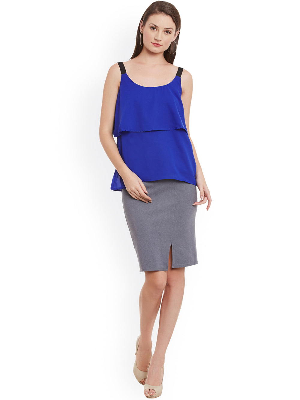 eyelet Women Blue Solid Layered Top