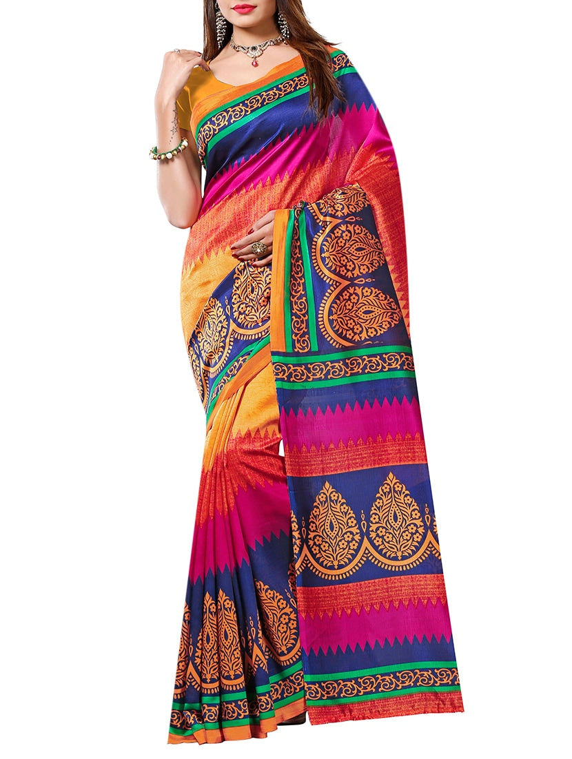 multicolor art silk bhagalpuri saree with blouse