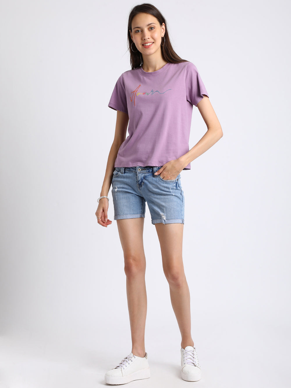 Besiva Women Purple Solid Round Neck T-shirt