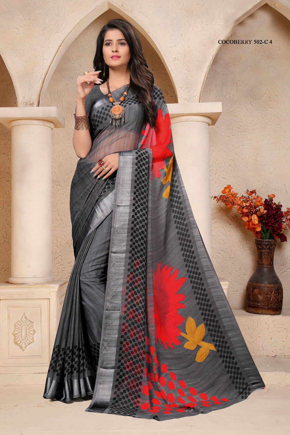 Roop Kashish Women Grey Party Wear Floral Printed Chiffon Saree And Chiffon Blouse Material._RKRU502C4