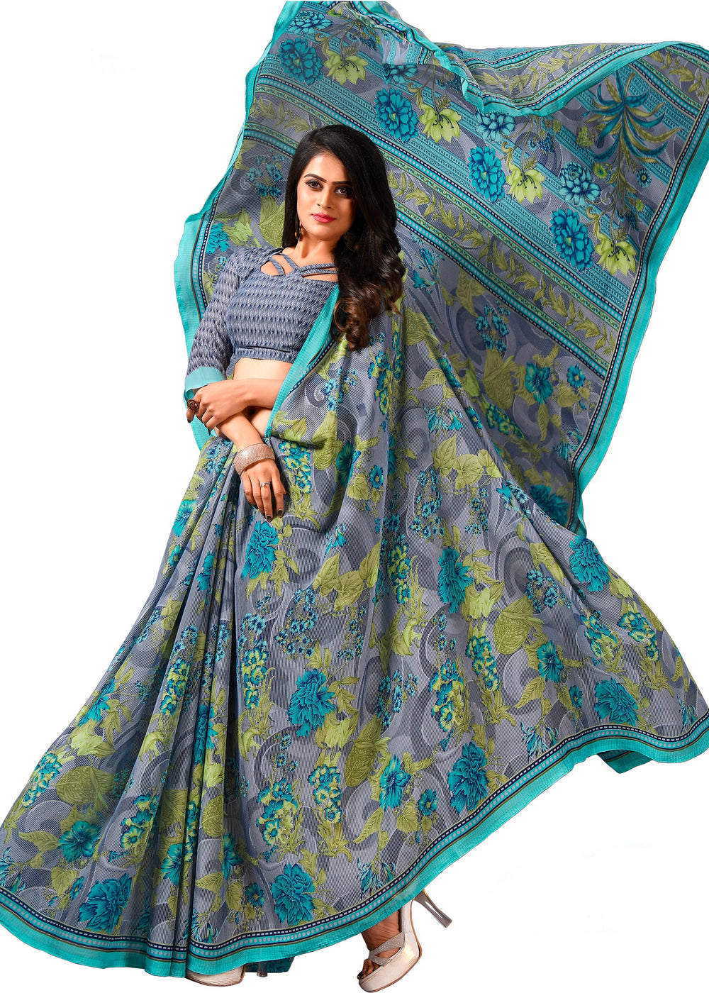 Roop Kashish Women Multi-Coloured Party Wear Georgette Printed Saree And Georgette Blouse Material_RKAM8078