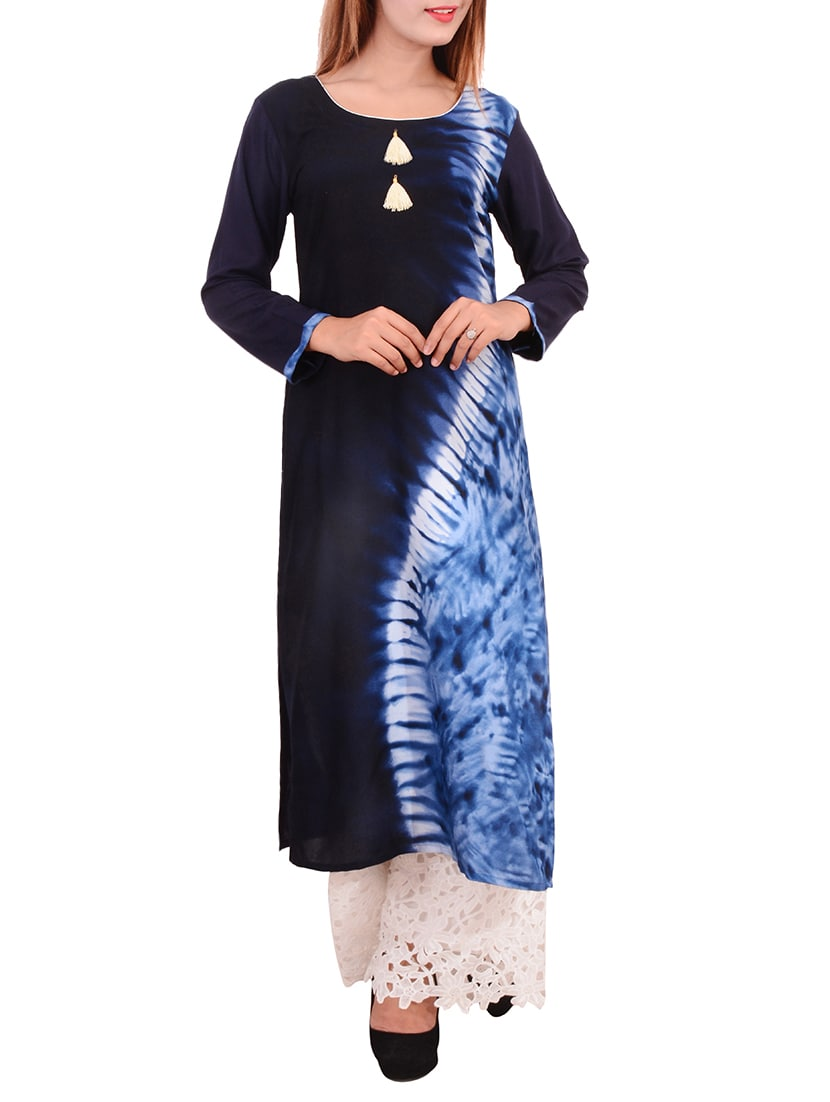 blue rayon tie & dye long kurta