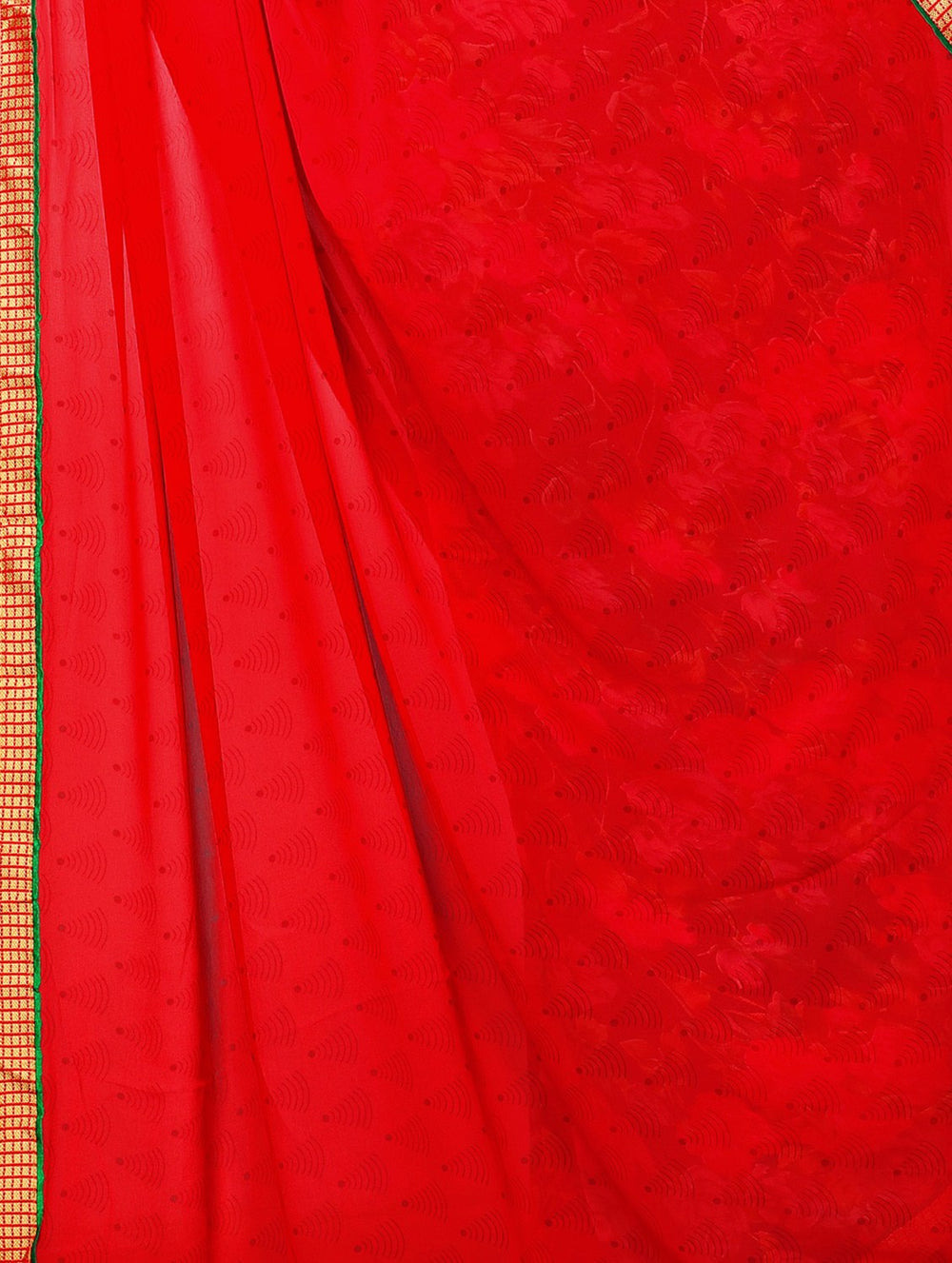 red half and half  saree with blouse