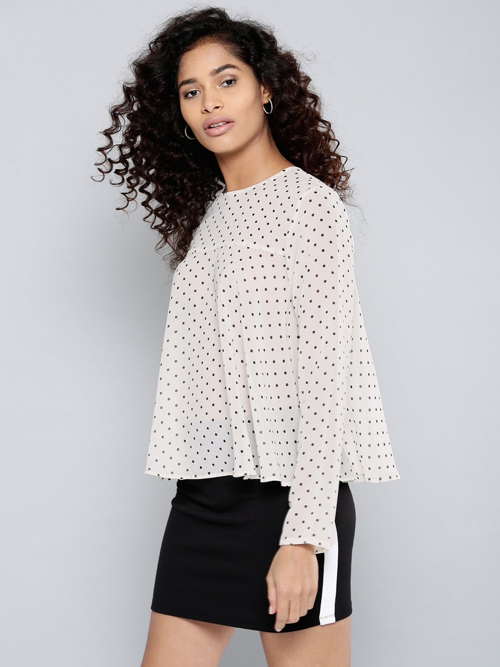Besiva Women Off-White & Black Printed A-Line Top