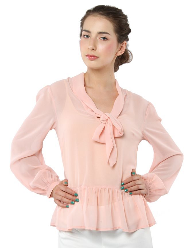 Drop Pussybow And Peplum Top Nude