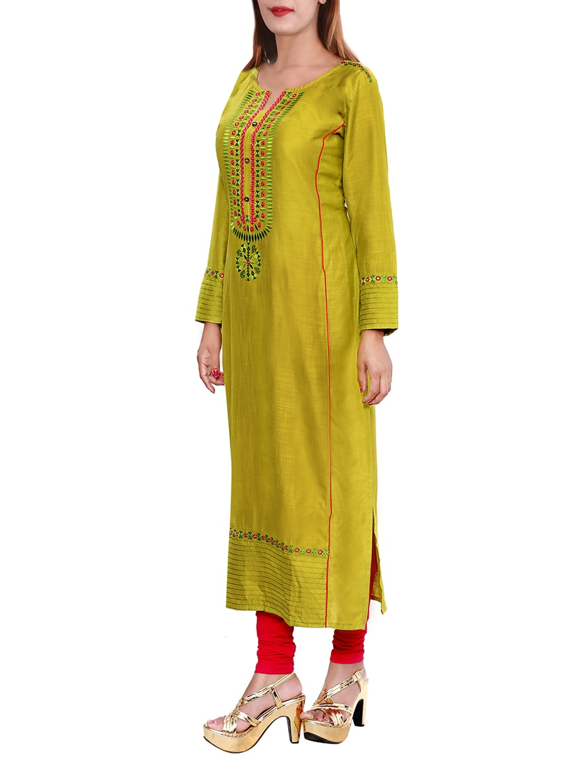 green rayon long kurta
