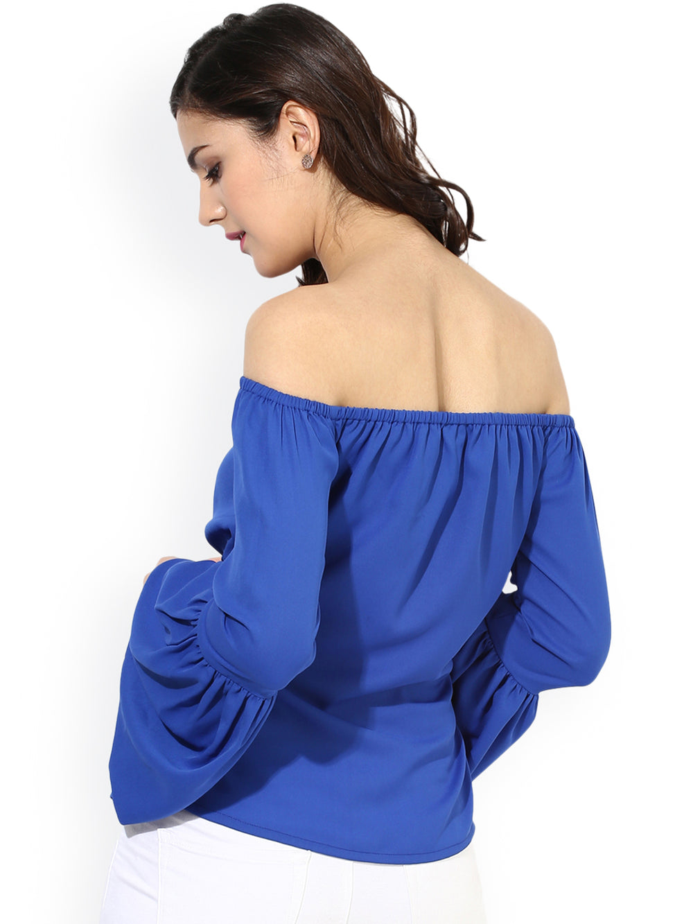 Besiva Women Blue Solid Bardot Top