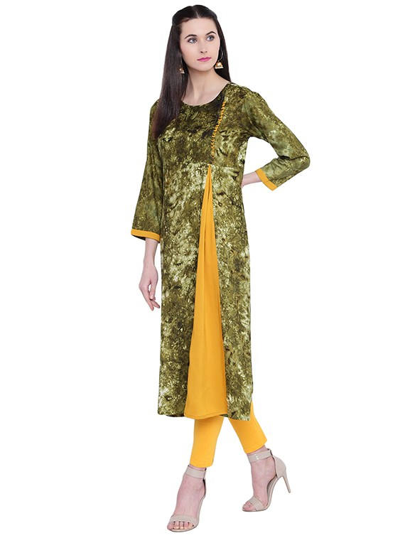green rayon straight kurta
