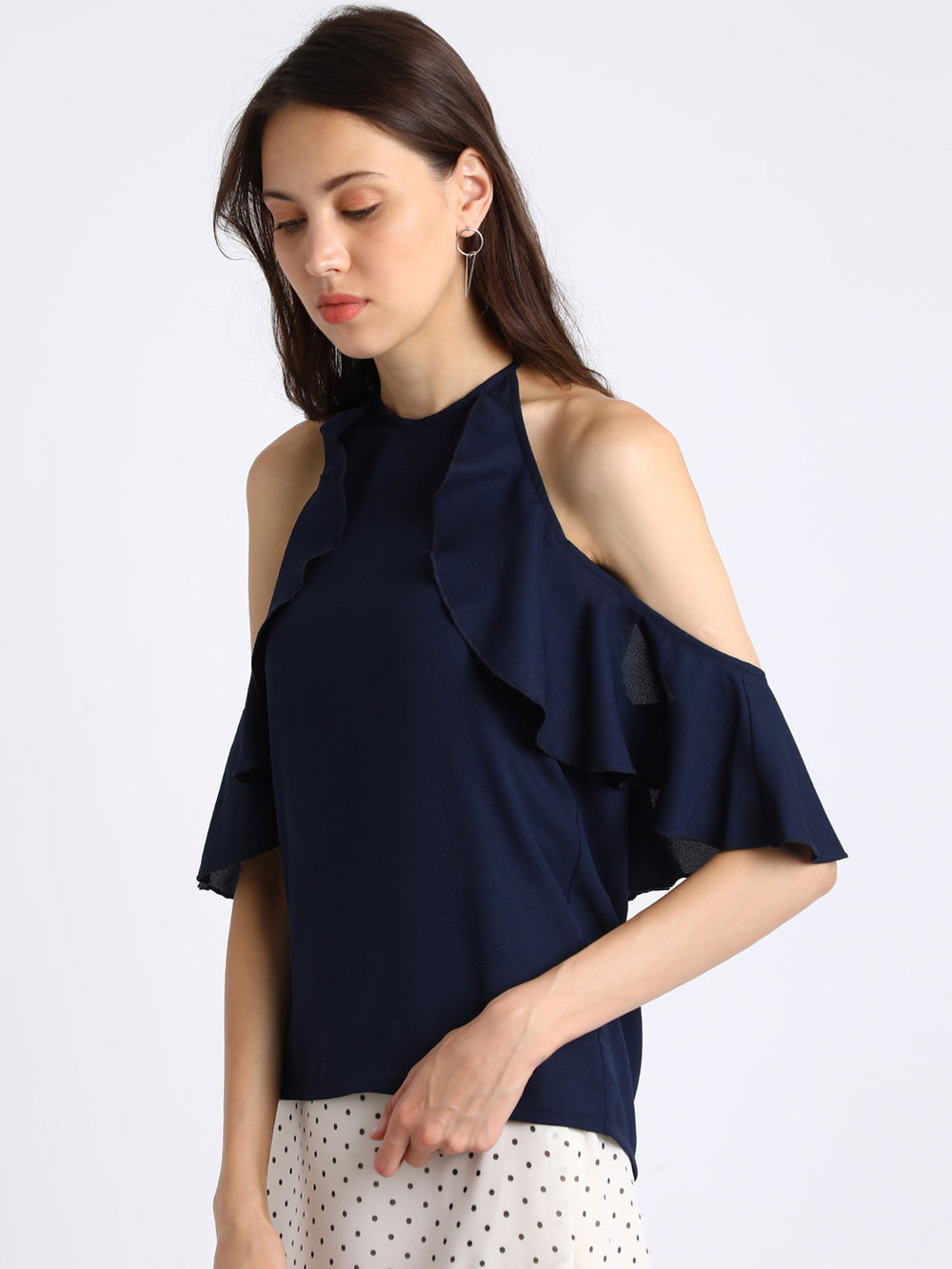Besiva Women Navy Blue Solid A-Line Top