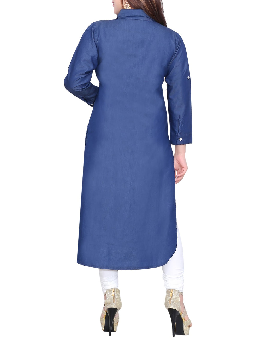 blue denim straight kurta