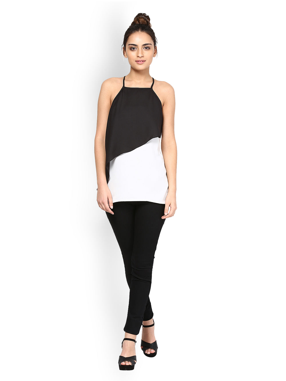 Besiva Women Black & White Top