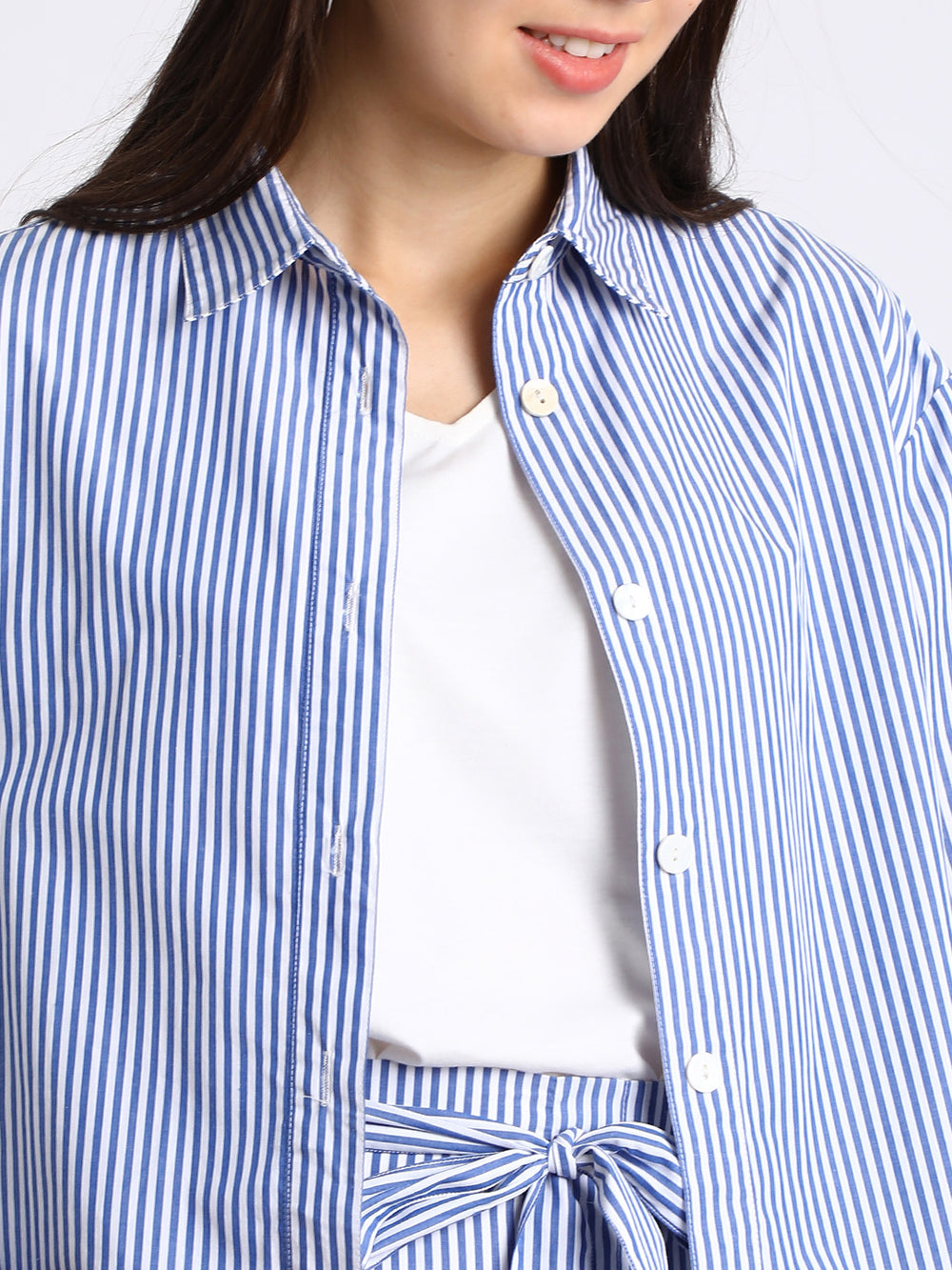 Besiva Women Blue & White Regular Fit Striped Casual Shacket