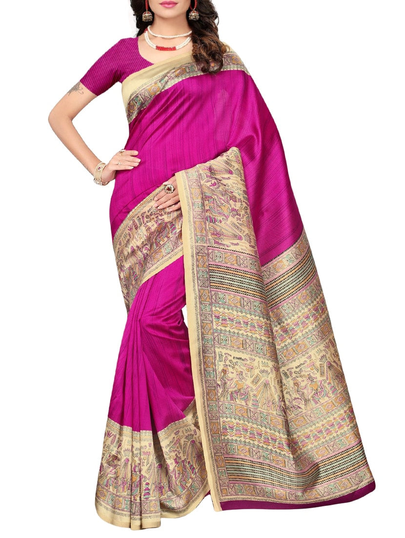 magenta silk blend mysore saree with blouse