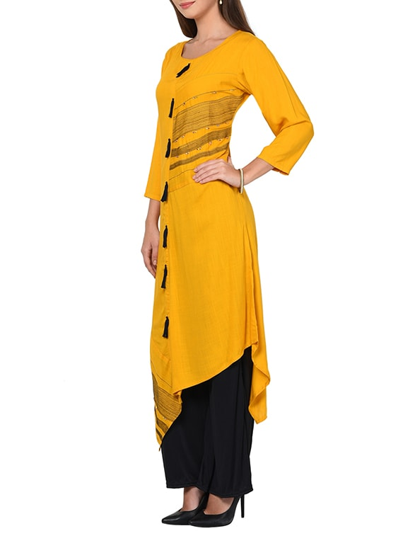 yellow rayon asymmetric kurta
