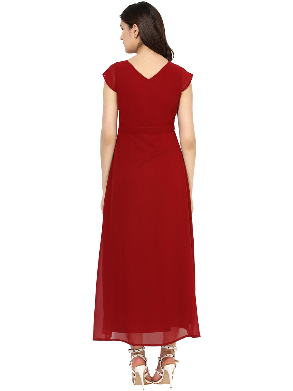Besiva Women Maroon Solid Maxi Dress