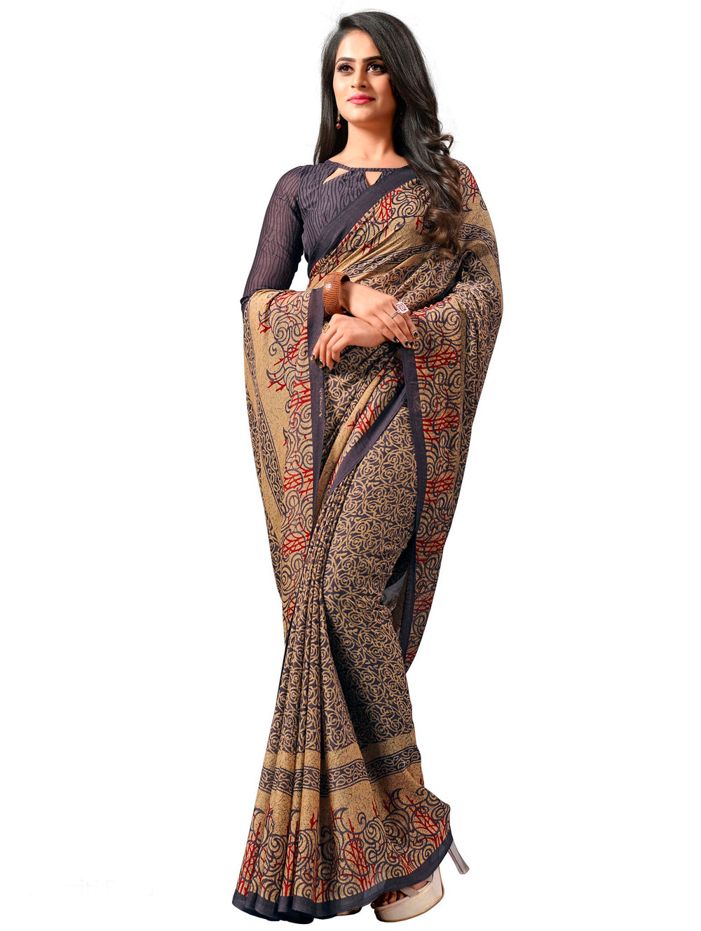 Roop Kashish Women Multi-Coloured Party Wear Georgette Printed Saree And Georgette Blouse Material_RKAM8075