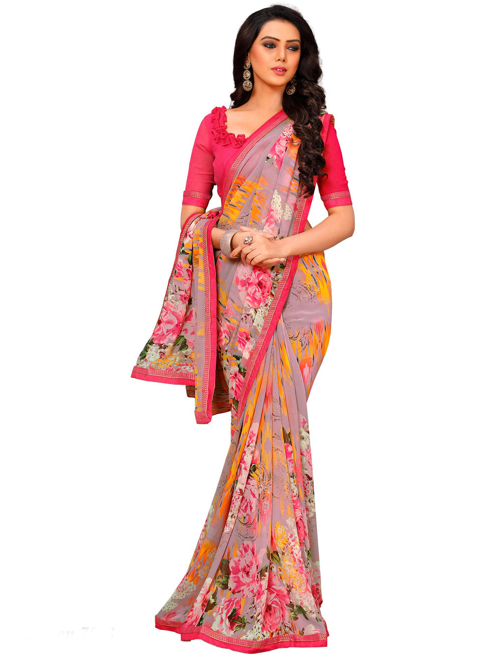 Roop Kashish Women Multi-Coloured Party Wear Georgette Printed Saree With Border And Georgette Blouse Material._RKAM7013