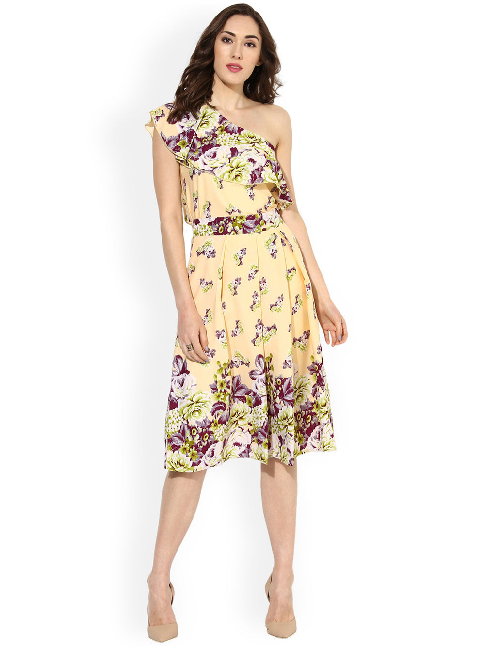 Besiva Yellow Floral Print Flared Skirt