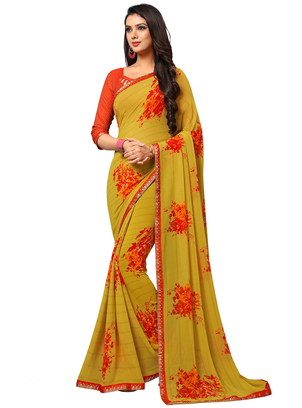Roop Kashish Women Yellow Party Wear Georgette Printed Saree With Border And Georgette Blouse Material_RKAM8031