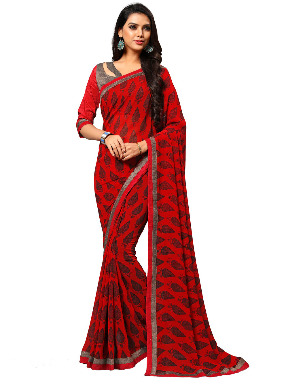 Roop Kashish Women Red Party Wear Georgette Printed Saree With Border And Georgette Blouse Material_RKAM8023