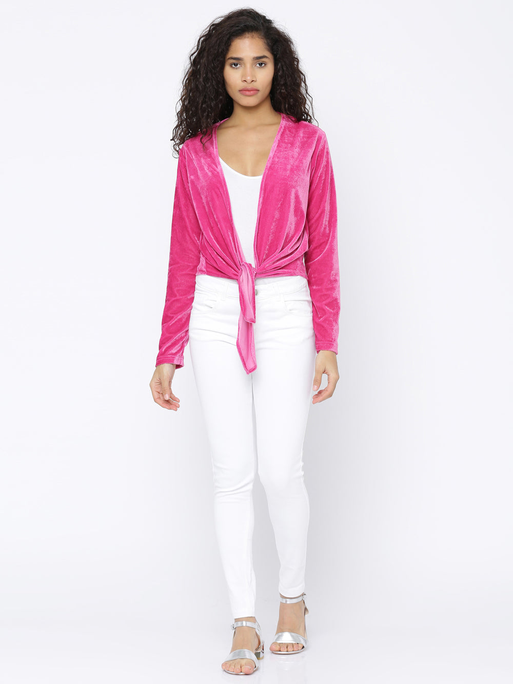 Besiva Pink Solid Open Front Shrug