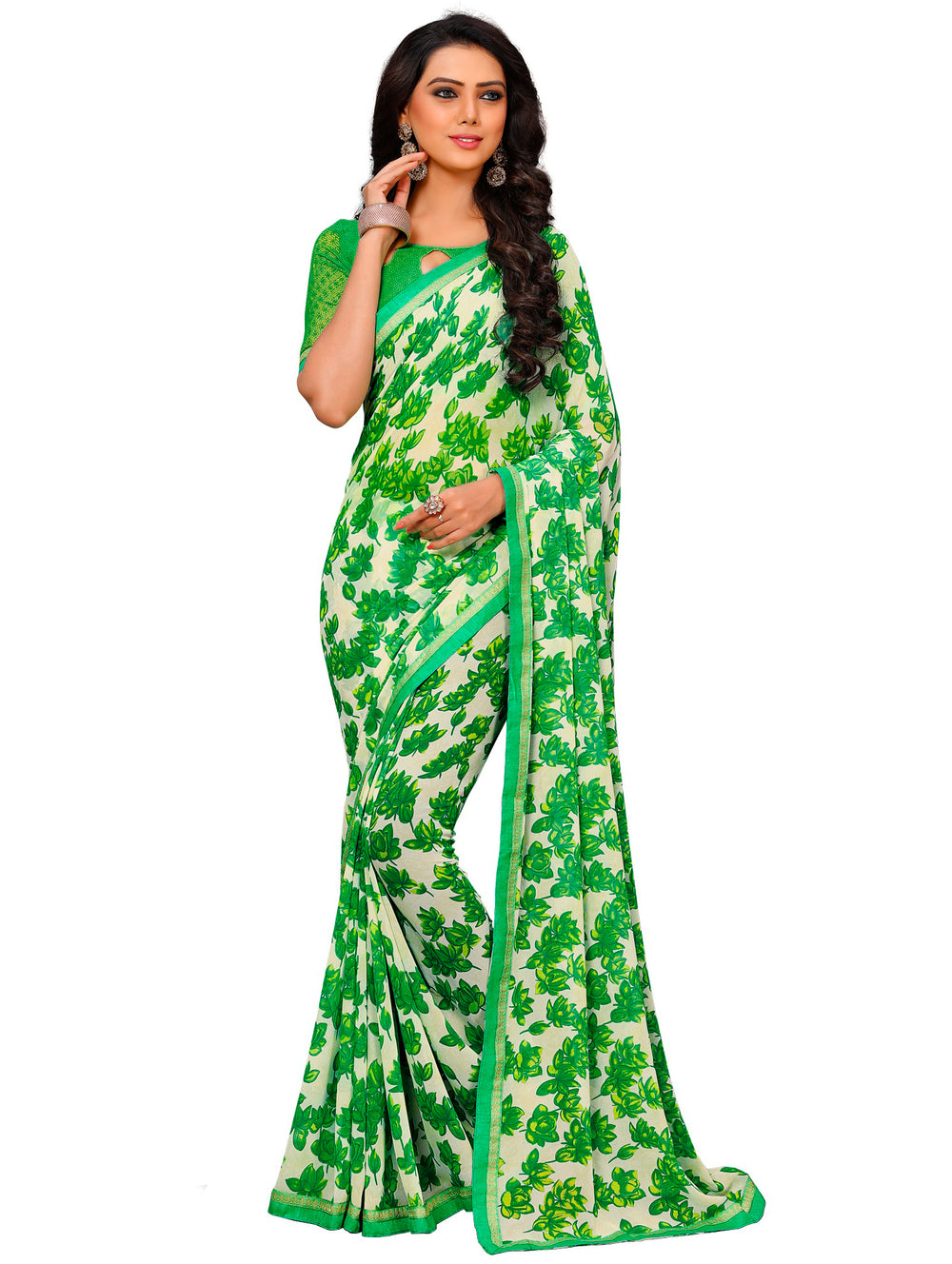 Roop Kashish Women  Green Party Wear Georgette Printed Saree With Border And Georgette Blouse Material._RKAM7017