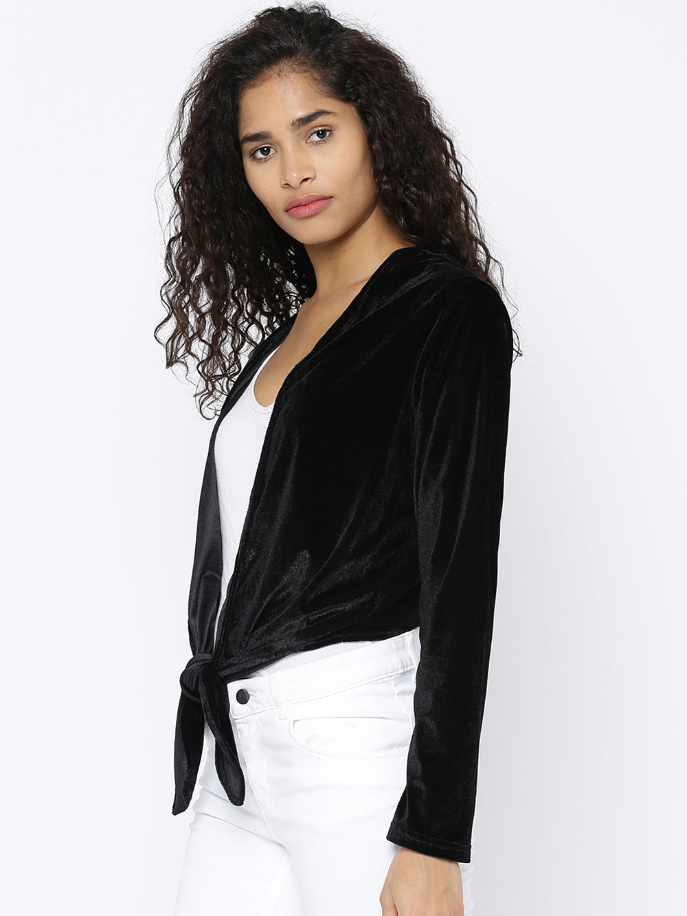Besiva Black Solid Open Front Shrug