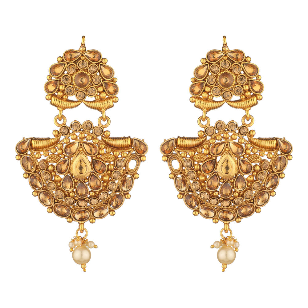Gold-Plated Beaded Handcrafted Chandbalis with Mangteeka