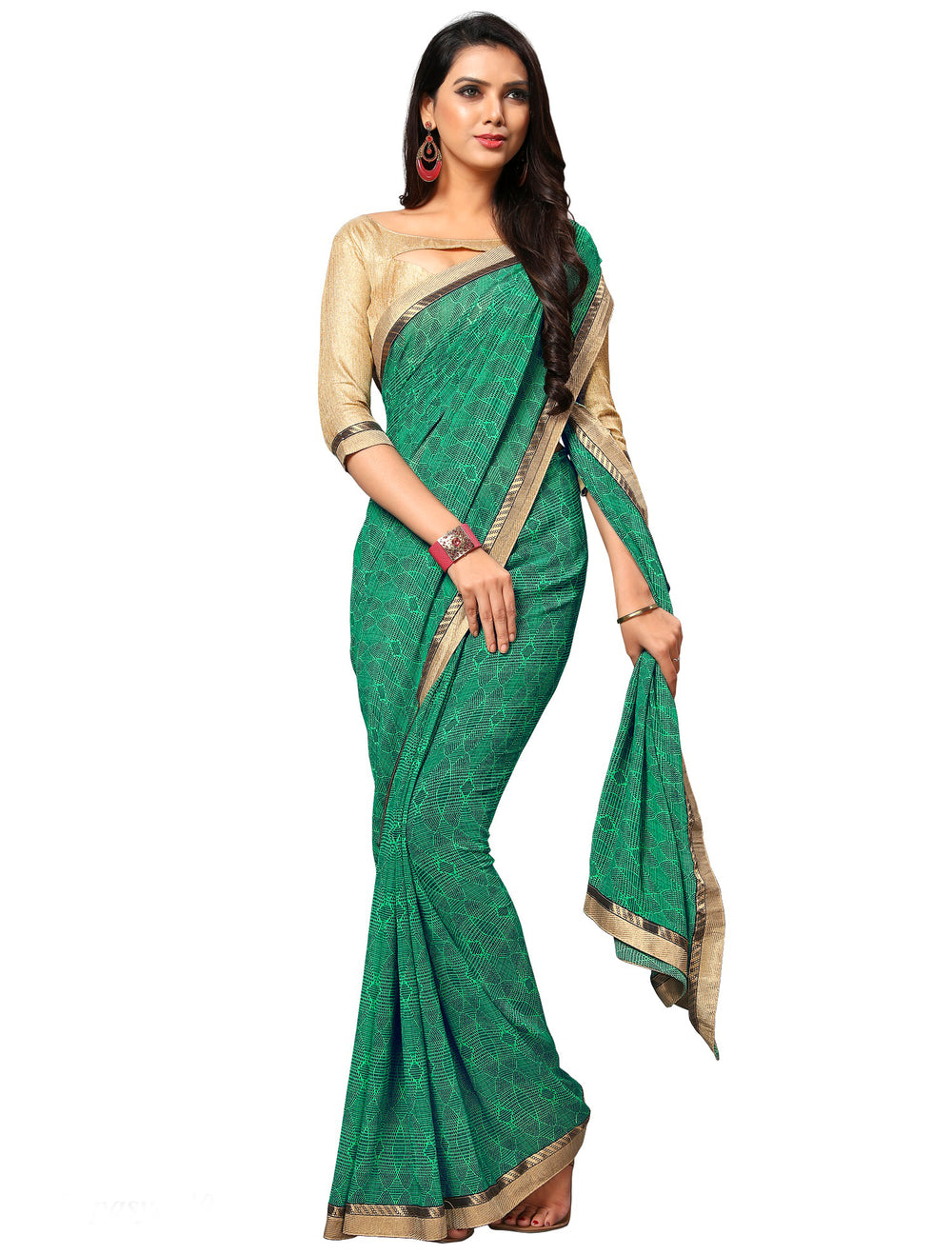Roop Kashish WomenGreen Party Wear Georgette Printed Saree With Border And Georgette Blouse Material_RKAM8011
