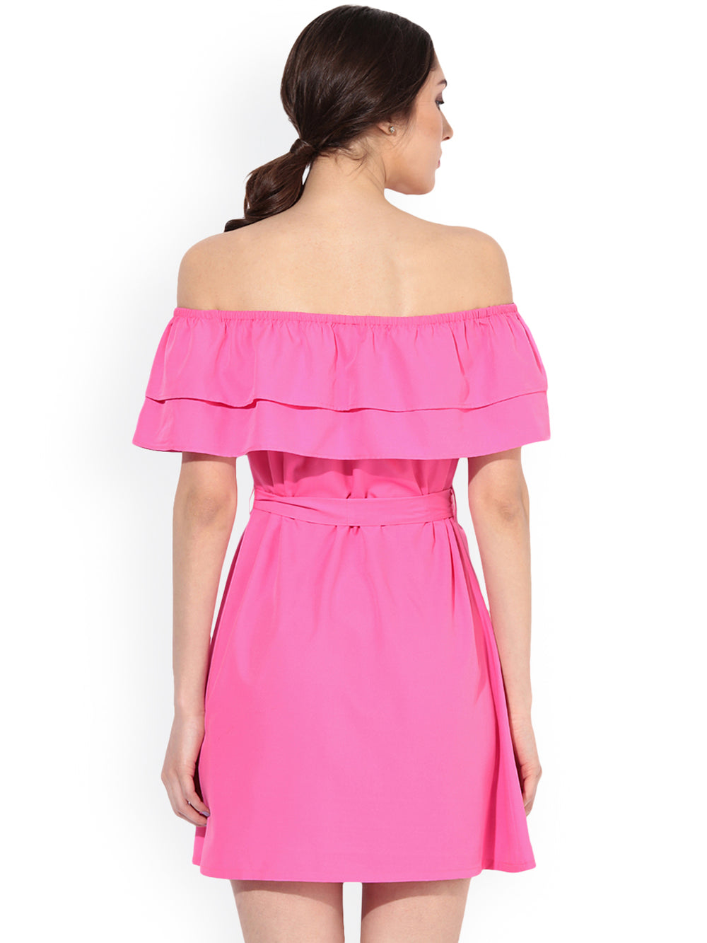 Besiva Women Pink Solid A-Line Bardot Dress