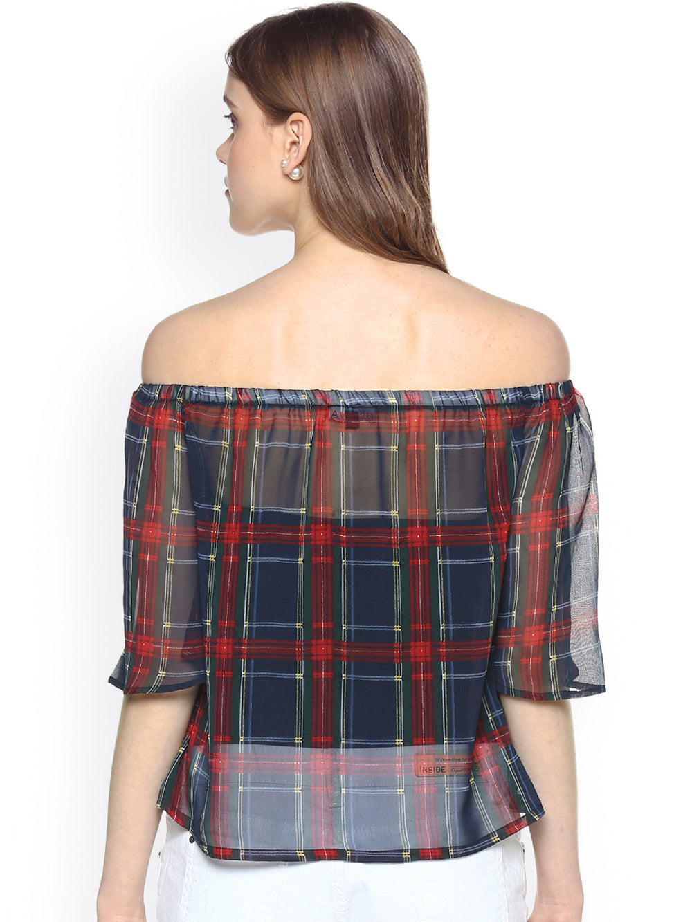 Besiva Women Blue & Red Checked Bardot Top