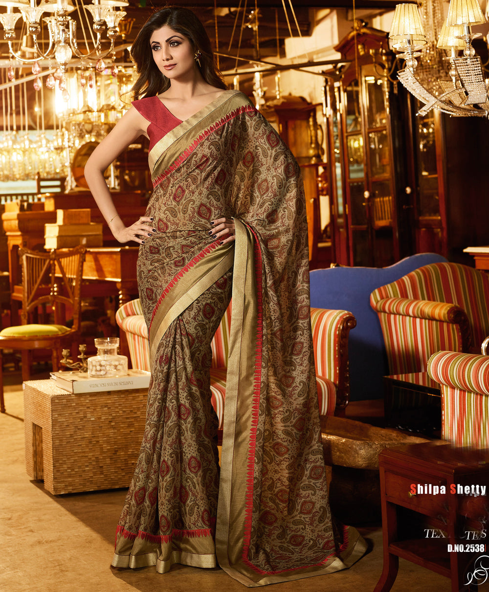 Roop Kashish Women Multi-Coloured Party Wear Georgette Printed Saree With Border And Dupion Silk Blouse Material._RKSN2538