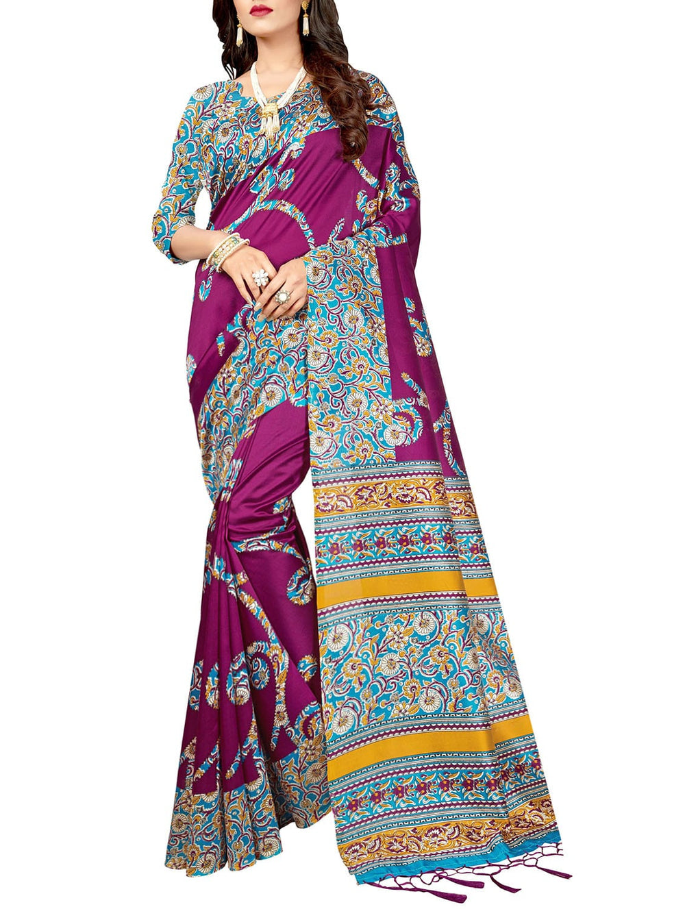 purple silk blend mysore saree with blouse