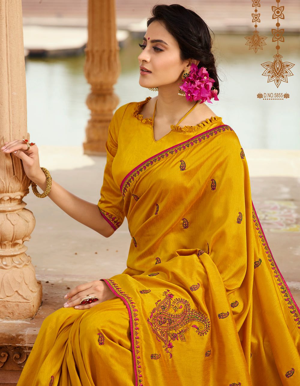 Roop Kashish Women Yellow Party Wear Silk Saree With Border And Raw Silk Blouse Material_RKPF5855