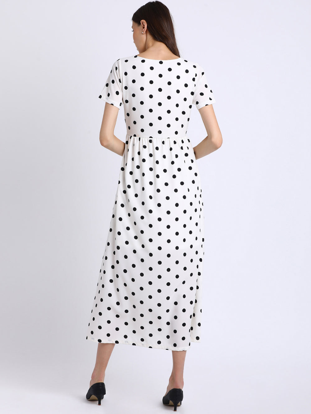 Besiva Women White Printed Fit and Flare Dress