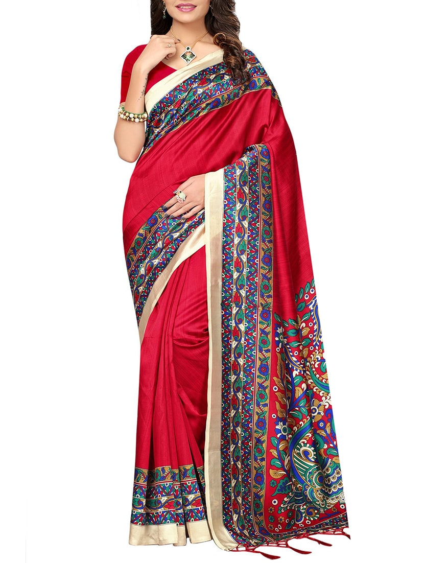 red silk blend mysore saree with blouse
