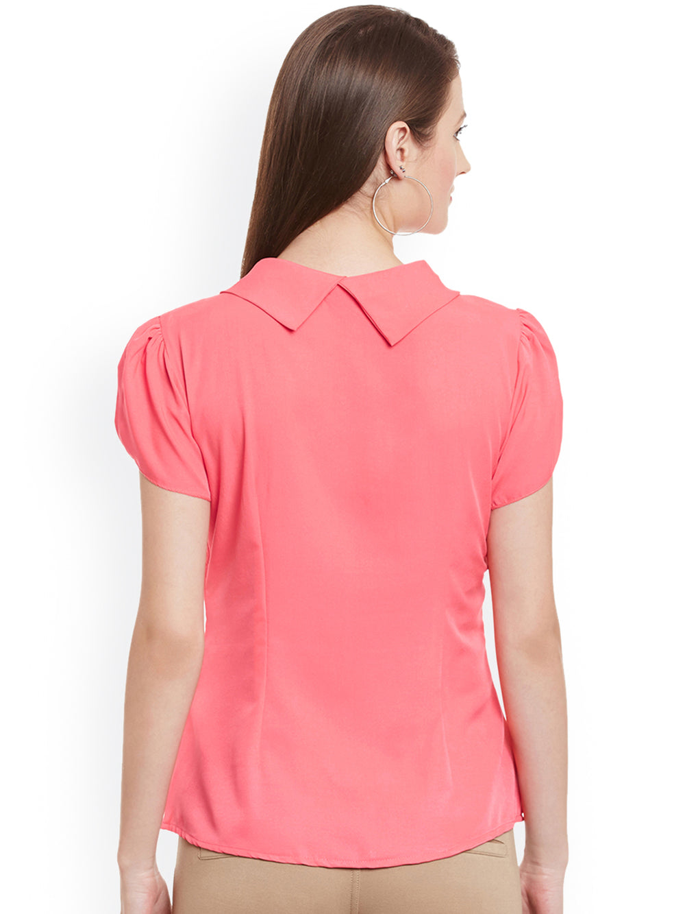 eyelet Women Peach-Coloured Top