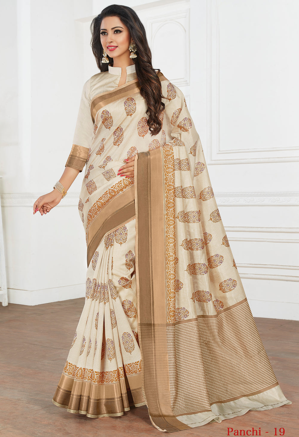 Roop Kashish Women Cream Party Wear Tussar Silk Saree And Tussar Silk Blouse Material._RKRGPAN019