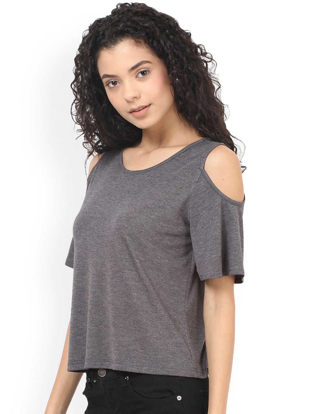 Besiva Women Grey Solid Regular Top