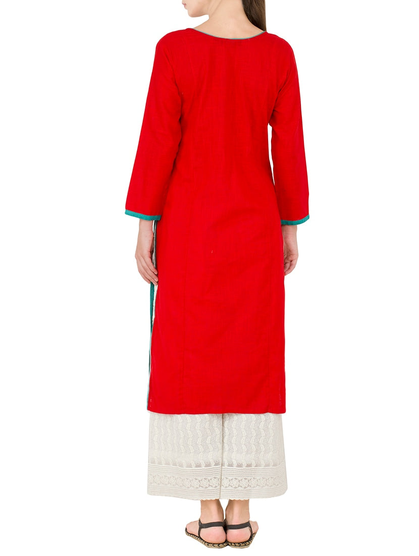 red cotton embroidered straight kurta