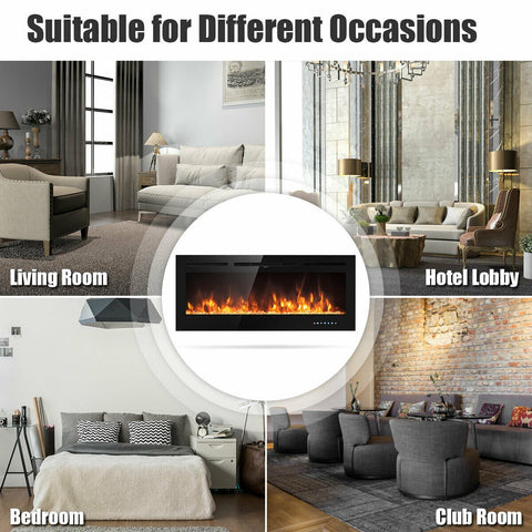Recessed Electric Insert Wall Mounted Fireplace