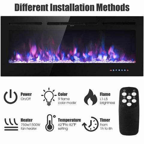 """50"""" Recessed Electric Fireplace"""