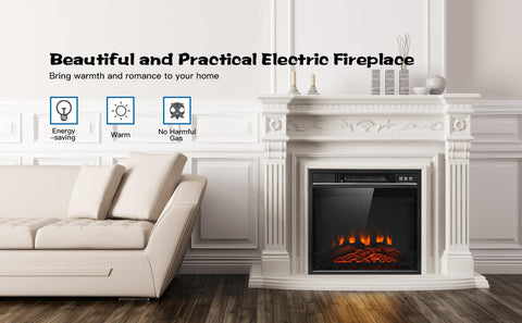 Electric Fireplace Freestanding Wall-Mounted Heater with Adjustable LED Flame